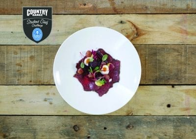 City of Glasgow Starter - Smoked Roe Deer Carpaccio, Beetroot, Radicchio, Grape, Herb Mayo