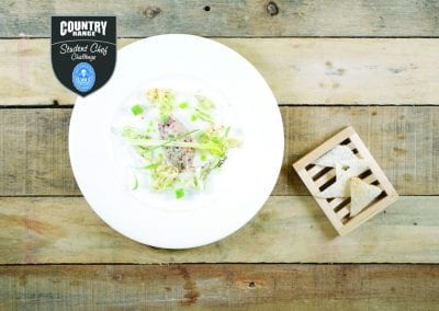 Westminster College Starter - Seared Cured Mackerel Tartare, Slow Roasted Napa Cabbage, Sweet Chilli Soy Dressing
