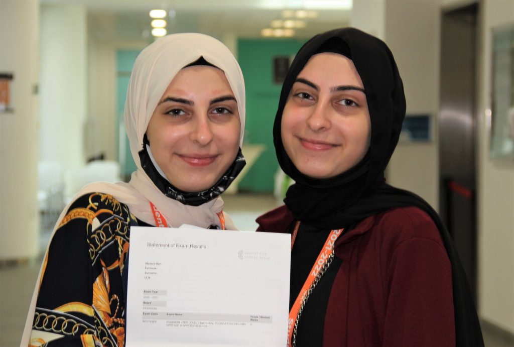 Twins Aya and Rayan are 17 years old. They passed the first year of their two-year BTEC courses, achieving Distinctions in Applied Science and Health and Social Care respectively.