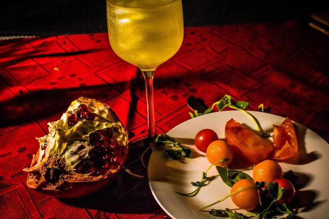 photography student image of food and wine