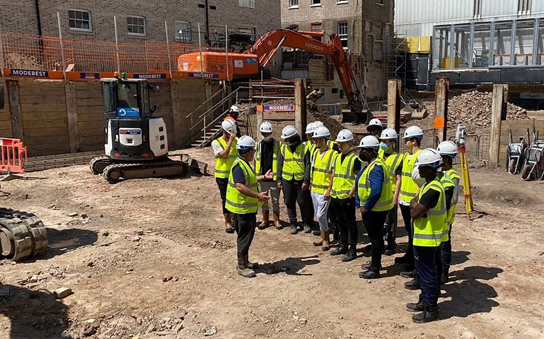 engineering students at construction site